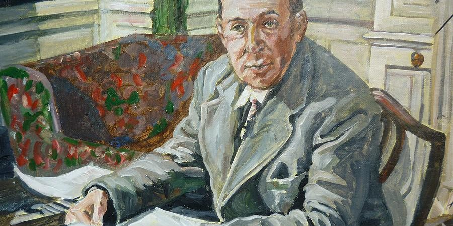 Painting of C.S. Lewis by Bryan Bustard